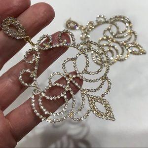 RHINESTONES! The SPARKLIEST Goldtone Post Earrings